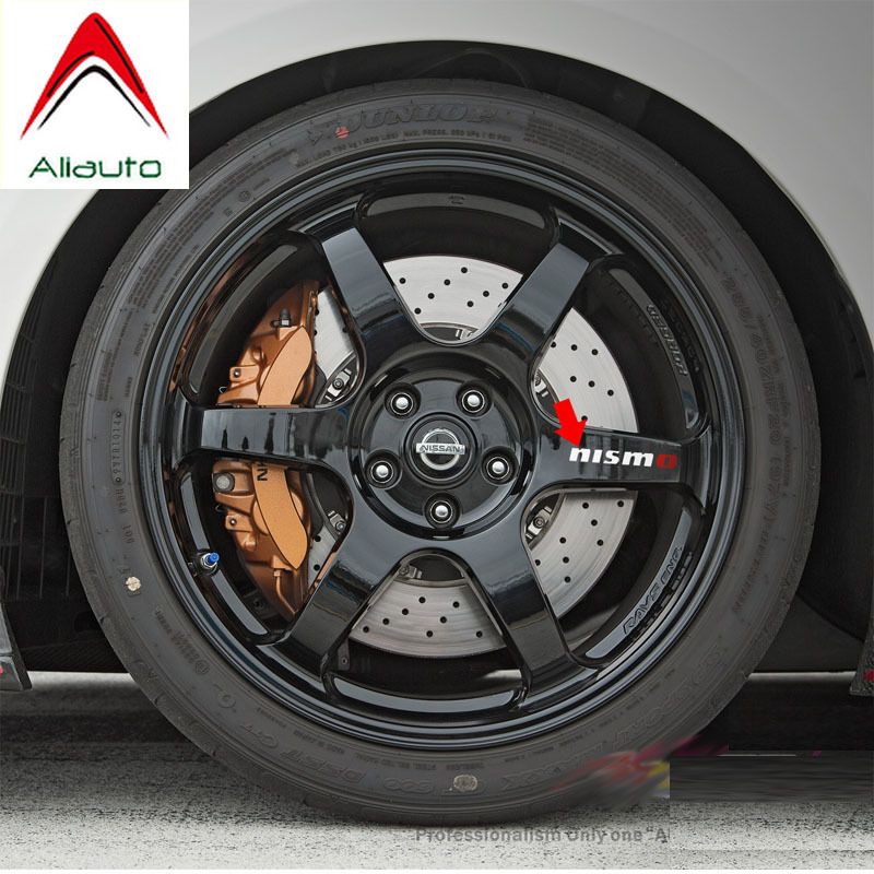 Aliauto 4 X Nismo Car Tires & Rim Sticker Decal Accessories Pvc For Nissan Tiida Sunny Qashqai MarchTeana X-trai 10cm*2cm