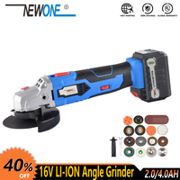 16V Cordless Lithium Ion Angle Grinder Polisher Grinding Power Tool Cutting and Grinding Machine Rechargeable with 4.0AH battery