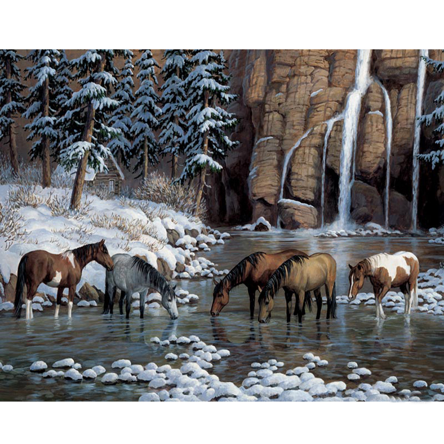 5D Diy Diamond Painting Horse,Landscape Diamond Embroidery Waterfall Scenery Cross Stitch Full Rhinestone Mosaic Home Decor Gift