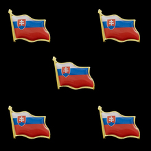 5PCS Slovakia National Country Flag Waving Pin Brooch Collectible Lapel Pin Country Flag Metal Badge 5pcs kyrgyzstan country flag badge pin brooch friendship metal craft custom soft enamel lapel pin