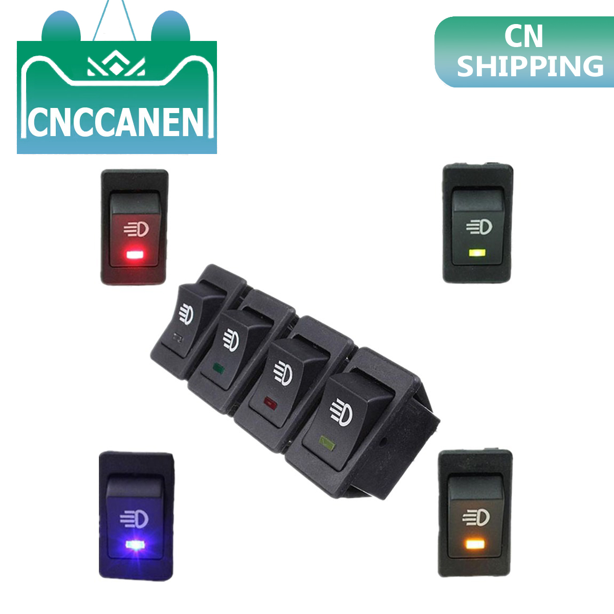 Waterproof Latching Rocker Toggle White Yellow Green Blue Red 4Pin 2Position 12V 35A Car Auto Fog Light Rocker Toggle Switch LED