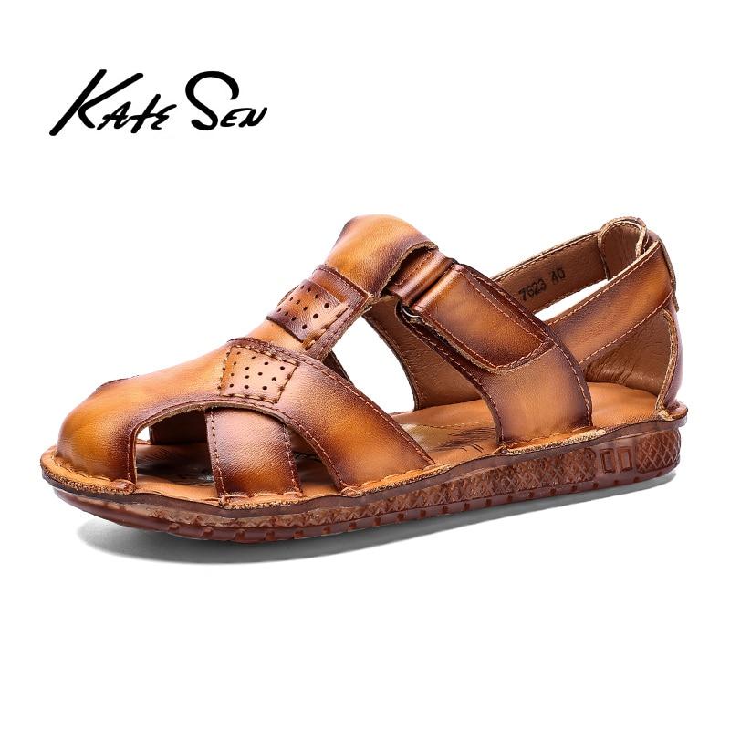 New Casual Men Soft Sandals Comfortable Men Summer Genuine Leather Sandals Men Roman Summer Outdoor Beach Sandals Big Size 38-48