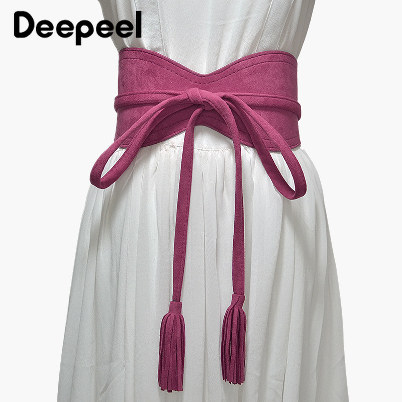 Deepeel 1pc 10.5cm*265cm Women Extra Long Pendant Tassel Cummerbund Retro Suede Elegant Apparel Accessories Gift For Women CB607