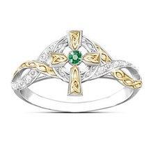 Fashion Jewelry Finger-Ring Rhinestone Crystal Cross-Micro-Inlaid Women Wedding Two-Colors