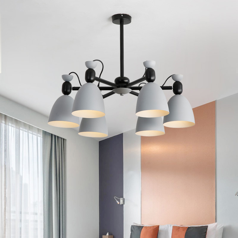 Modern Minimalist Metal Chandelier E27 Led Gray & Green Color Universal Head Chandeliers For Kitchen Living Room Bedroom Study
