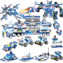 City Police Station Car Headquarters Building Blocks Technic Truck SWAT WW2 Military Bricks Toys for Children Kids new city police fire station truck spray water gun firemen car building blocks sets bricks model kids toys compatible legoes