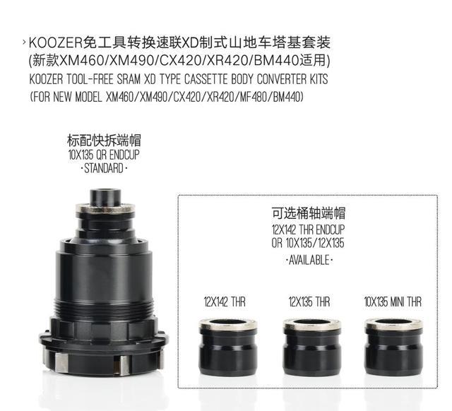 Koozer MTB Bicycle Hubs Converters XM490 XM470 XM460 Hub Caps Mountain Bike Hubs End Cap Adapter QR Or THRU Cap XD Adapter