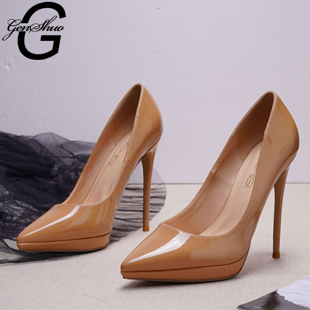 GENSHUO High Heels Shoes Women Pumps 12cm Woman Shoes Sexy Pointed Toe Wedding Party Shoes Stilettos Thin Heels Stiletto Pumps