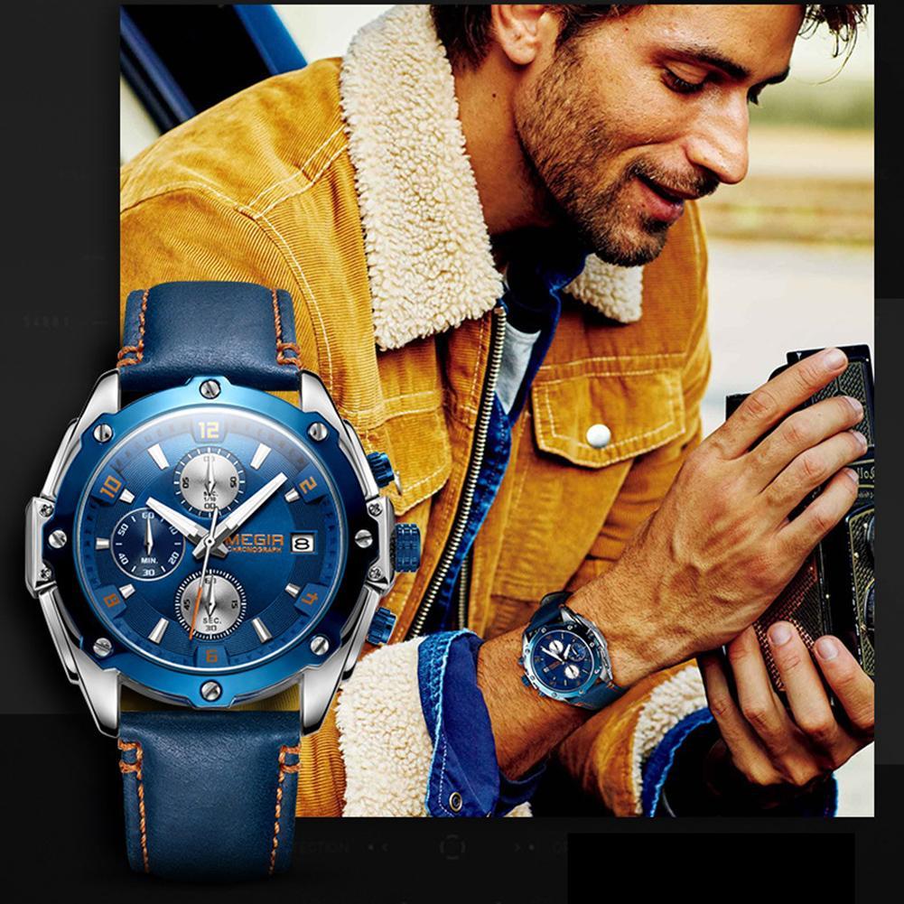 Fashion Unisex Genuine Leather Strap Waterproof Analogue Display Quartz Watch Men's And Women's Fashion Quartz Watches