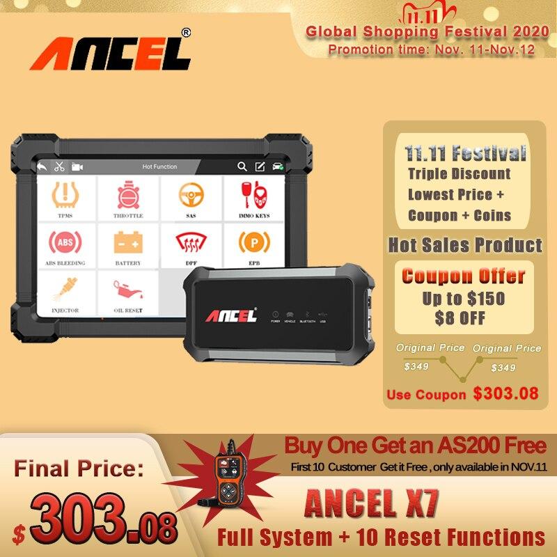 Ancel x7 sistema completo obd2 scanner immo bms epb abs redefinição de óleo obd2 leitor de código para o motor multi-idioma scanner de carro profissional
