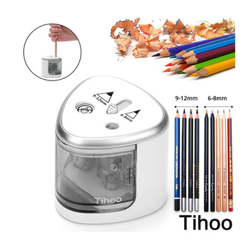 2 Holes Electric Pencil Sharpener Battery Operated Pencils Fast And Sharp Automatic Pencil Sharpeners Office Stationery stationery electric pencil sharpeners school supplies automatic pencil sharpener for children home office accessories kits
