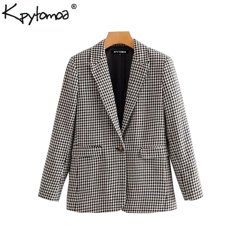 Vintage Stylish Office Lady Houndstooth Pockets Blazer Coat Women 2019 Fashion Notched Collar Long Sleeve Plaid Outerwear Chic Tops