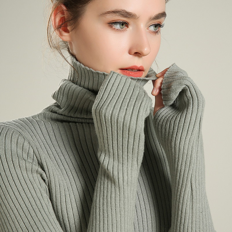 Women's Turtleneck Sweaters Sleeve With Thumb Hole Stretch Ribbed Pullover Jumper 2019 Women Knitted Sweater Autumn Winter #918