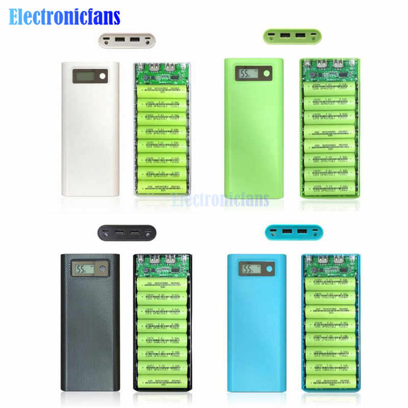 8x18650 Battery Charger Box Power Bank Holder Case Dual USB LCD Digital Display 8*18650 Battery Shell Storage DIY Kit No Battery