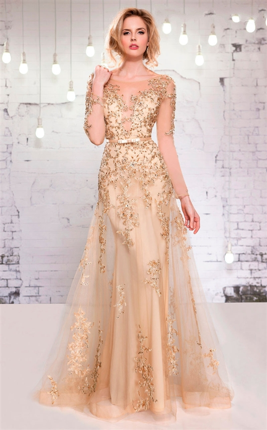 New Arrival Lace Applique Beading A Line Belt Tulle Long Sleeves Formal Long Evening Gown Arabic Mother Of The Bride Dresses