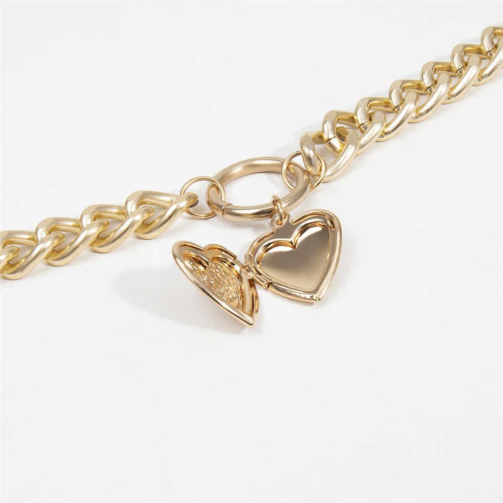 Nowy projekt moda kobiety Chunky złoty naszyjnik kłódka medalion wisiorek monety łańcuszek nakładania warstw srebrny prezent dla kobiet