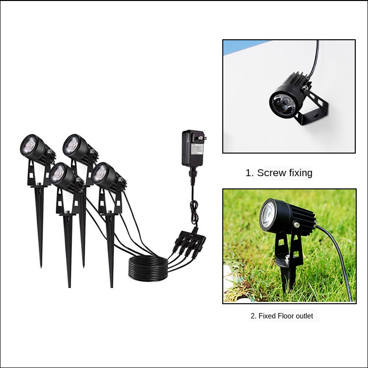 LED Pin Light Lawn Light One Dragging Four Spotlight LED Floodlight Led One to Six Courtyard Lights One Dragging Four Grass 3