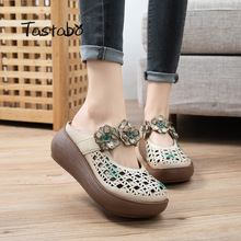 Women's Slippers Light Outsole Brown Glamour Tastabo Daily-Shoes Casual-Style Genuine-Leather