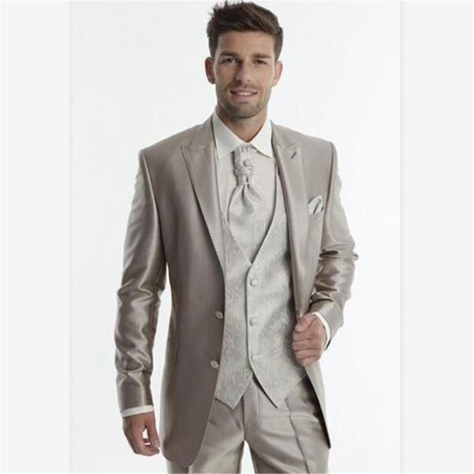 New Men's Suit Smolking Noivo Terno Slim Fit Easculino Evening Suits For Men Groom Tuxedos Silver Grey Groomsmen Pesk Lapel Wedd