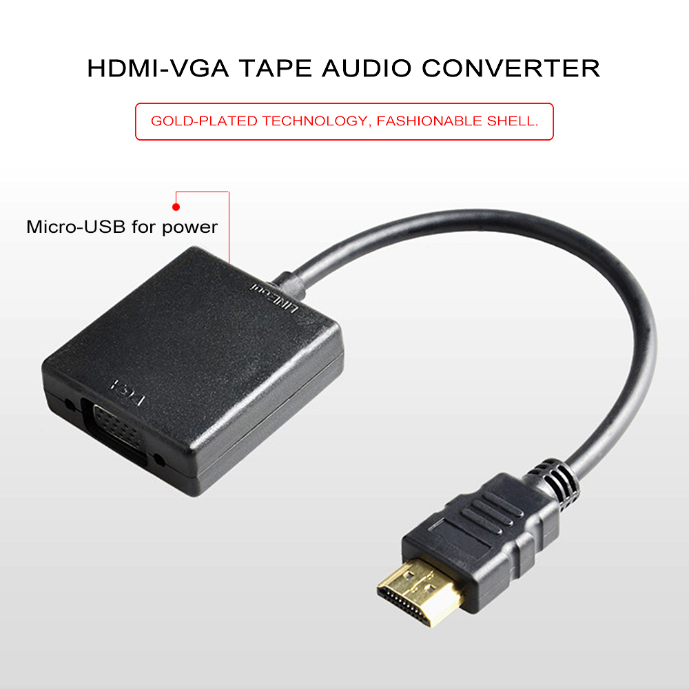 VGA to HDMI Display PC to TV Converter Adapter w// 3.5mm Stereo Audio /& USB Power