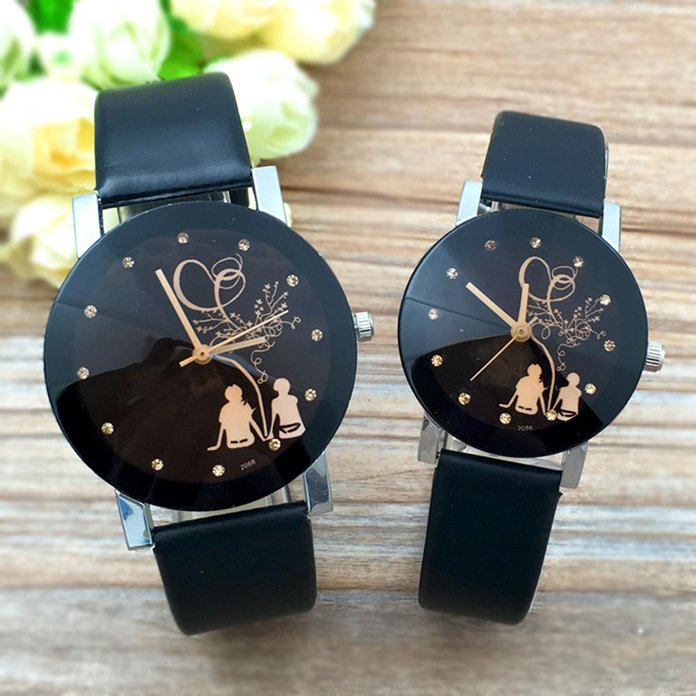 Unisex Couple Watch Faux Leather Band Rhinestone Round Dial Analog Quartz Fashion Simple Diamond Student Couple Quartz Watch