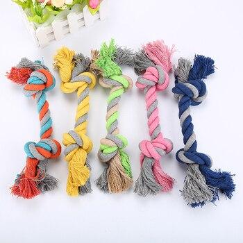 Собачья игрушка для домашних животных прочный двойной узел из хлопчатобумажной веревки плетеная Кость Форма Щенок Жевательная молярная игрушка чистящие принадлежности для зубов (случайный цвет)