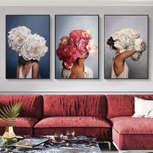 Скандинавские цветы голова женщины холст настенные картины художественные