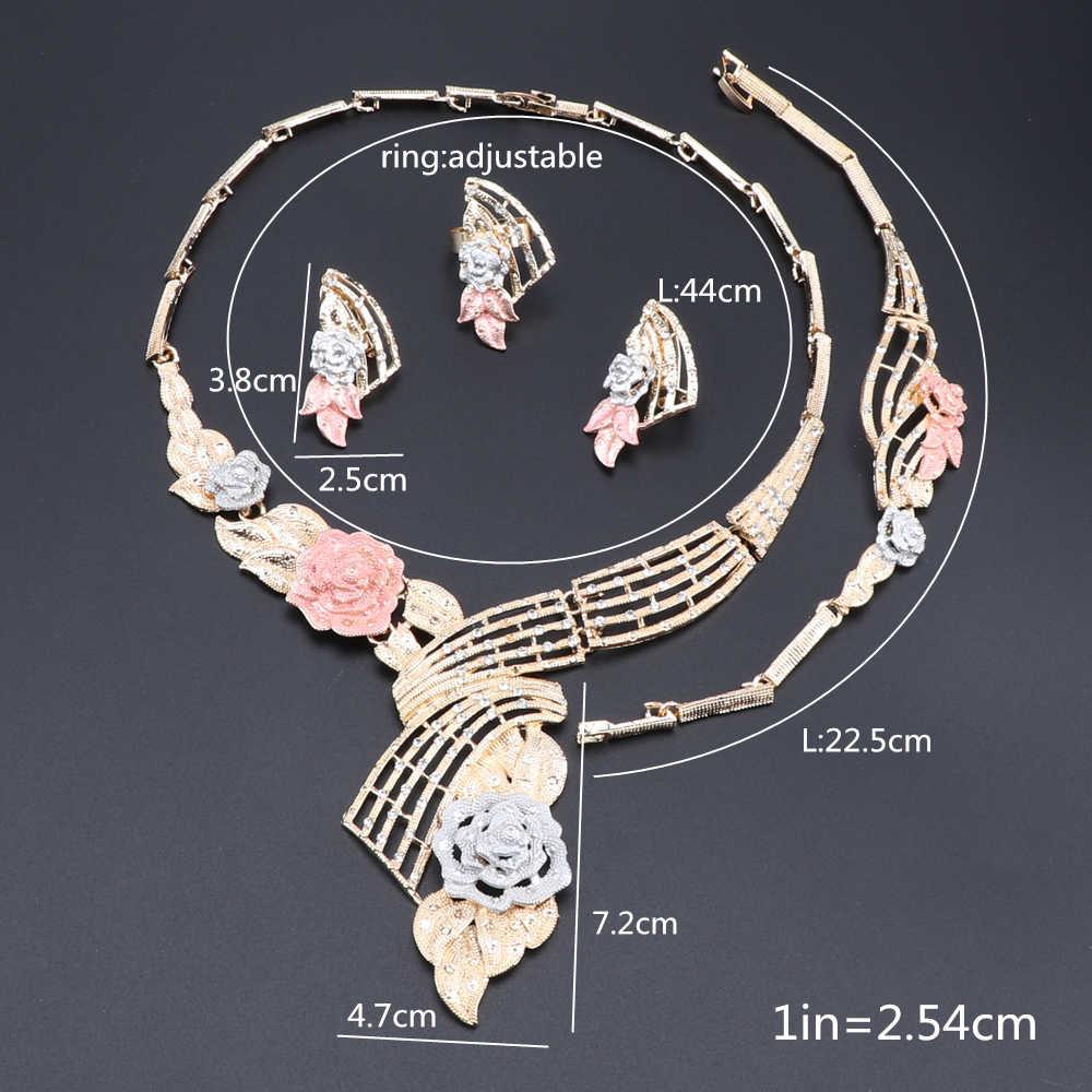 אפריקאי תכשיטים סטים לנשים פרח צורת שרשרת צמיד עגילי טבעת דובאי אלגנטי כלה תכשיטי חתונה