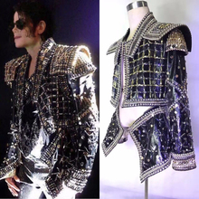 Men's Rhinestone Jacket Full Crystals Coat Singer Dance Dance Wear Outerwear Show Costume Outfit Michael cosplay Jackson