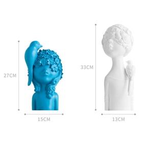 Image 5 - VILEAD 27cm 33cm Resin Bird Flower Girl Figurines Nordic Creative Character Statue Abstract Ornament Housewarming Gift Decor