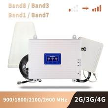 2g 3g 4g celular impulsionador dcs wcdma lte gsm 900 1800 2100 2600 banda tri móvel amplificador de sinal repetidor celular