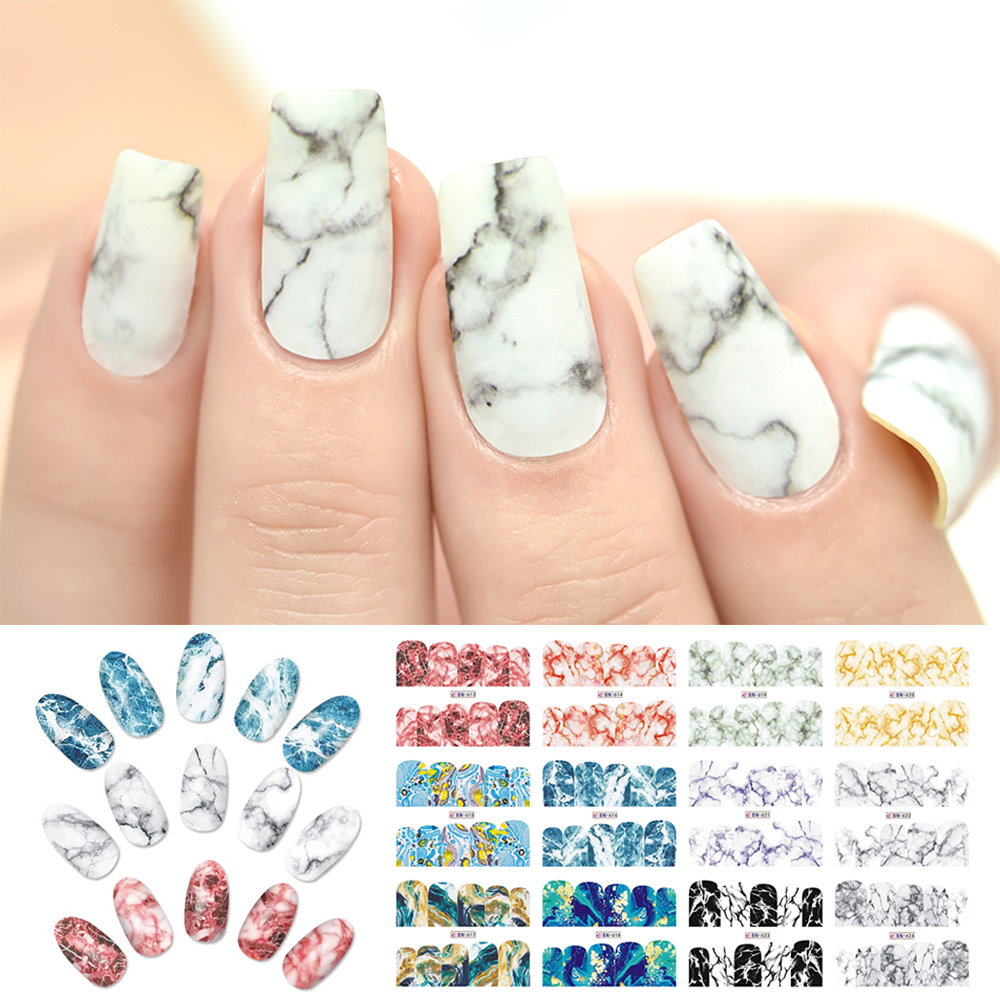 Rolabling Water Transfer Decal Marble Series Nail Stickers Wraps Sliders Decoration Nails Accessories Sticker Nail Art