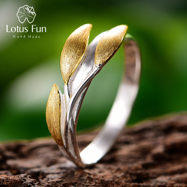 Lotus Fun Real 925 Sterling Silver 18K Gold Rings Handmade Fine Jewelry Creative Minimalist Design Leaves Rings for Women Bijoux