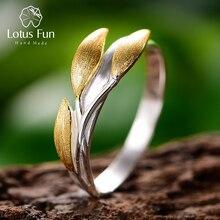 Lotus Spaß Echt 925 Sterling Silber 18K Gold Ringe Handgemachtes Feine Schmuck Kreative Minimalistischen Design Blätter Ringe für Frauen bijoux