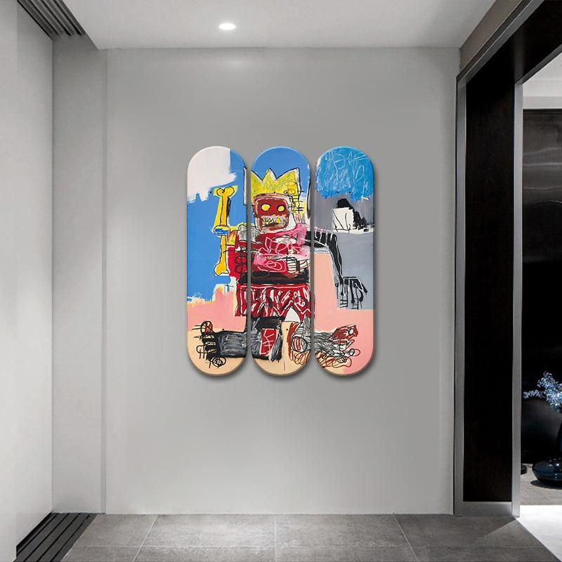 Jean Michel Decorative Board Basquiat Graffiti King Pop Art Skateboard Wall Art Skate Deck Mural Wall Hanging for Men Cave Decor