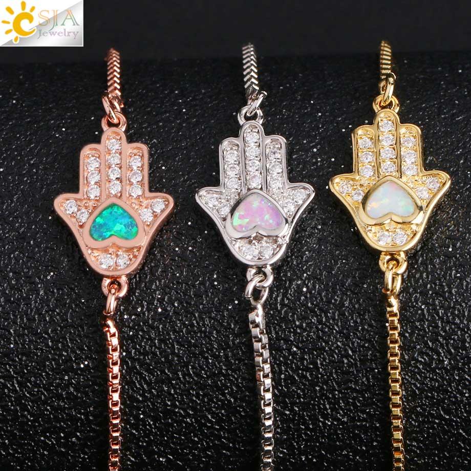 Image 3 - CSJA Religious Style Fatima Hand Charm Bracelet Heart Opal Pave  Zircon Chain Bracelets for Women Men Amulet Fashion Jewelry G105Chain