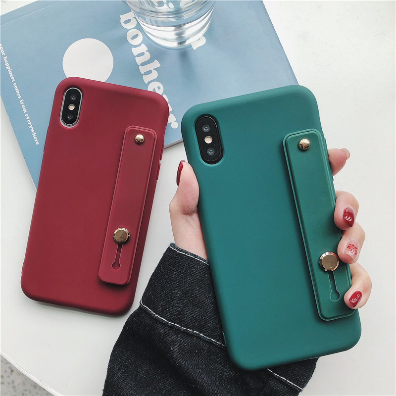 Cute Candy Solid Color Cover With Wrist Strap Phone Cases For Huawei Mate 10 20 P30 P20 P10 Pro Honor 7X 8 8A 8X 9 10 Soft Capa