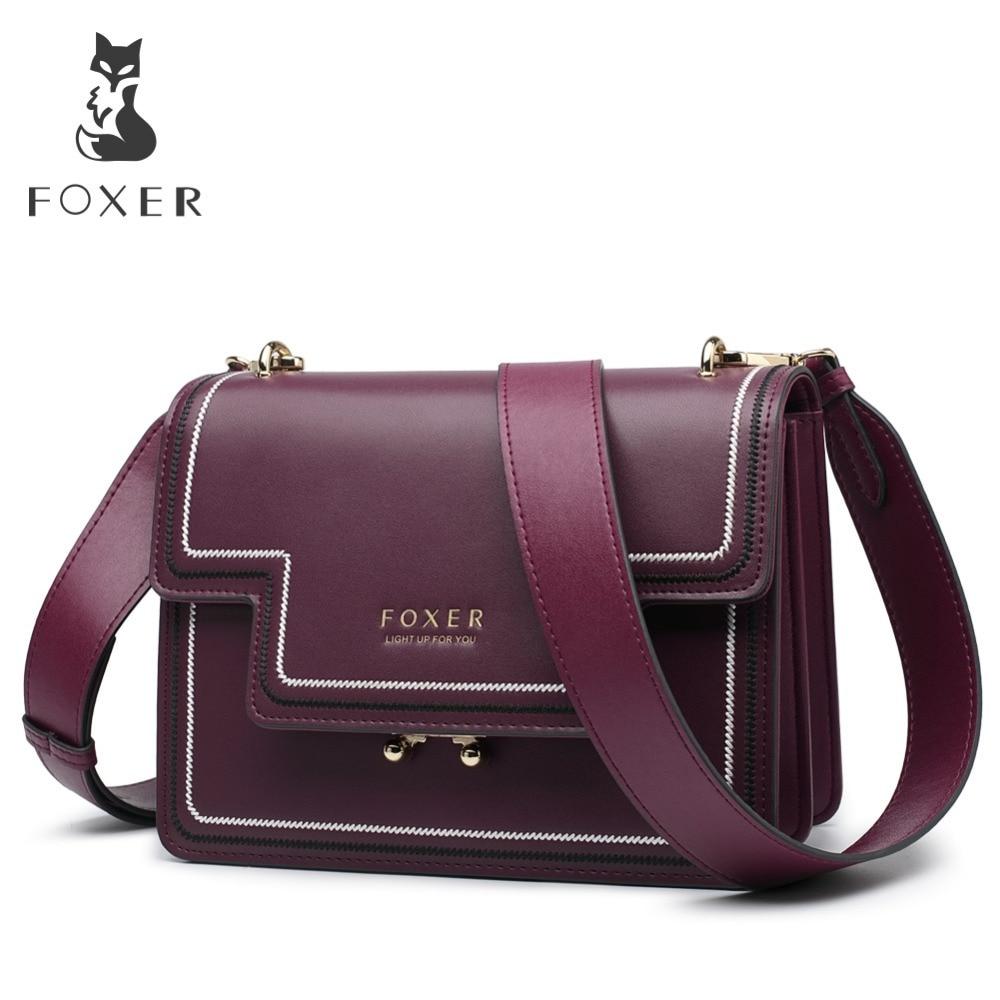 FOXER marca Split cuero elegante mujeres bolsos de hombro mujer gran capacidad lujo suave mensajero bolsas regalo del Día de San Valentín-in Bolsos de hombro from Maletas y bolsas    1