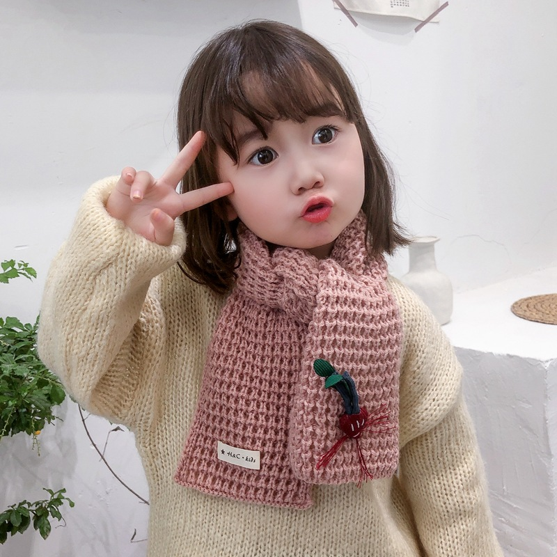 Mcmo Girl's Winter Scarf Korean Version Boy And Girl Lovely Scarf  Warm Scarf Children's Scarves Neck Scarf Hat Glove Sets