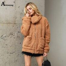 Plus Size S-3xl 2019 Autumn and Winter New Female Coat Faux Fur Collar Detachable Loose Plush Flocking Women Coat Imitation Fur