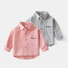 Shirt Boy Clothing Cotton Blouse Spring Long-Sleeves Foreign-Style Baby Korean Stripe