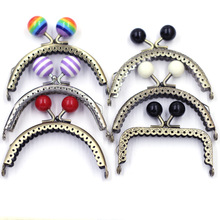 Round Resin Head Lotus Lace Arch Rectangle Frame Kiss Clasp Lock Handle Metal Coin Purse Bag DIY Wallet Accessories 6 Styles