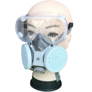 Image 5 - Painting Spray Gas Mask Respirator Anti Dust Mask with Protective Glasses Breathing Valves Replaceable Carbon Filter Light