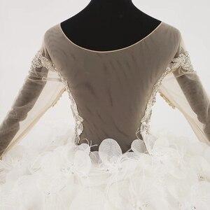 Image 5 - Свадебное платье HTL1180, арабские Свадебные платья es, Дубай, длинные рукава, кружевные аппликации, блестки, иллюзия, маленькая спина, свадебное платье