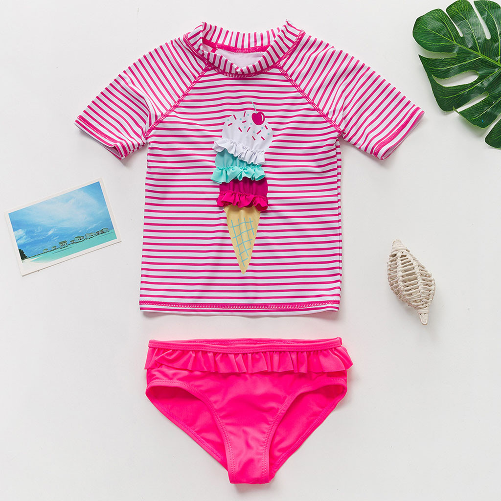 Swimwear Kids Shorts Beach-Clothes Toddler Baby-Girls Striped Cartoon Summer New Outfits title=