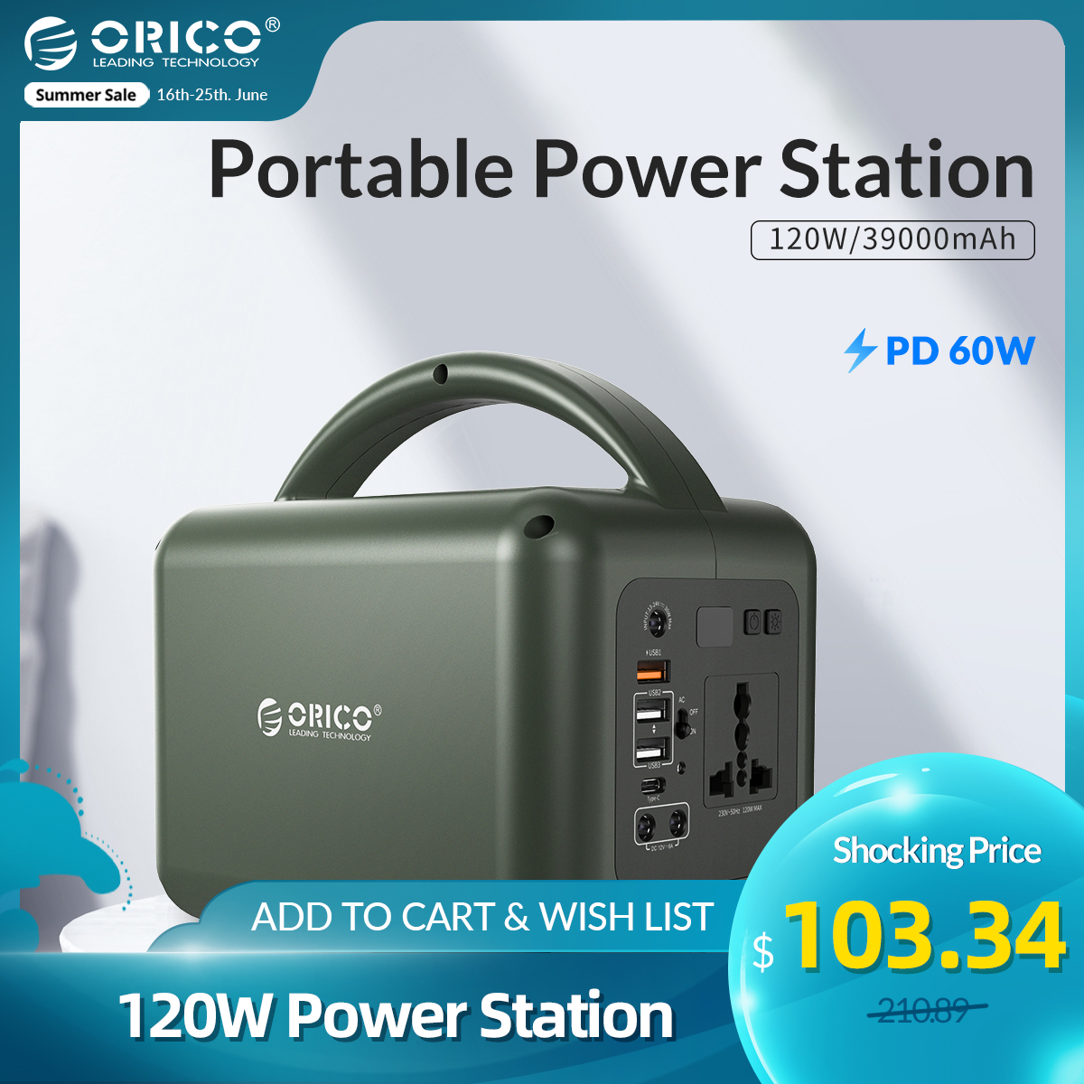 ORICO Portable Power Station PD Charging 220V 120W Backup Battery AC Outlet 39000mAh Type C Quick Charge For Outdoor