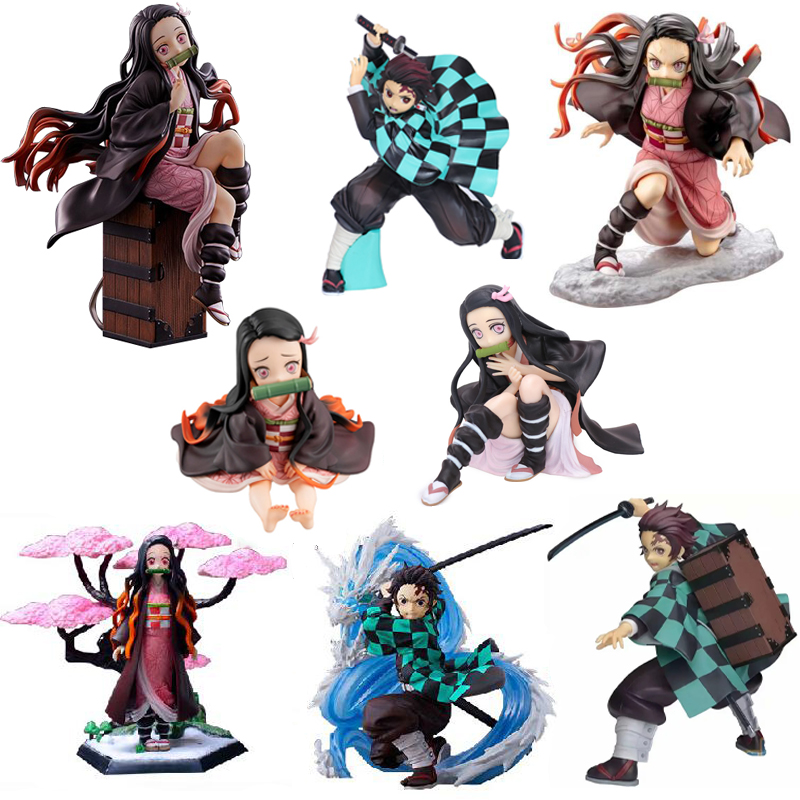 Devil's Blade Anime Figures Demon Slayer Tanjirou Nezuko Zenitsu PVC Kimetsu No Yaiba Action Figures Collectible Model Toys Doll