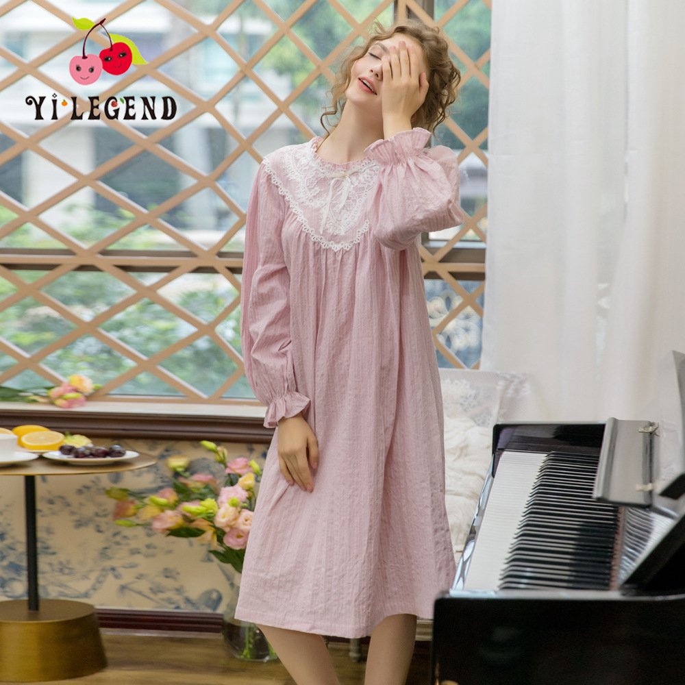 New Products Long Sleeve Pajamas Women's Tatting Pure Cotton Nightgown Women's Spring And Summer Loose-Fit Japanese-style Sweet