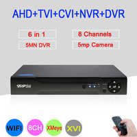5mp/4mp/2mp/1mp CCTV Camera Hi3520D XMeye 5MN 8 Channel 6 in 1 Hybrid Wifi Onvif NVR TVI CVI AHD DVR