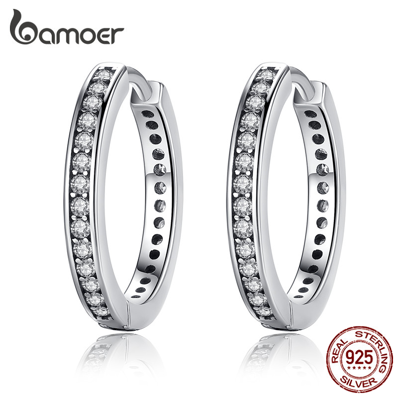 2018 FLASH DEALS 4 Colors 925 Sterling Silver CZ Simple Female Hoop Earrings Jewelry For Women Sterling Silver Jewelry PAS456